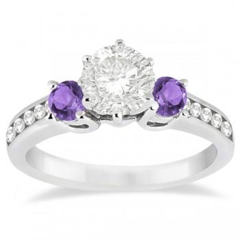 Three-Stone Amethyst & Diamond Engagement Ring 18k White Gold (0.45ct)