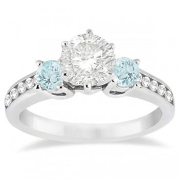 Three-Stone Aquamarine & Diamond Engagement Ring Palladium (0.45ct)