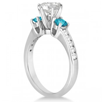 3 Stone White & Blue Diamond Engagement Ring 14K White Gold (0.45 ctw)