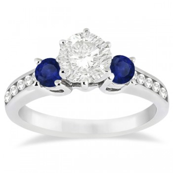 Three-Stone Sapphire & Diamond Engagement Ring 14k White Gold (0.60ct)