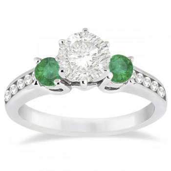 Three-Stone Emerald & Diamond Engagement Ring 14k White Gold (0.45ct)