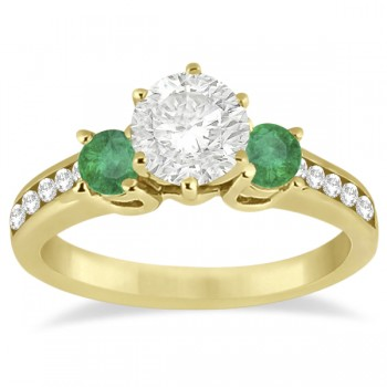 Three-Stone Emerald & Diamond Engagement Ring 18k Yellow Gold (0.45ct)