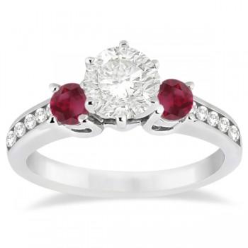 Three-Stone Ruby & Diamond Engagement Ring Platinum (0.60ct)