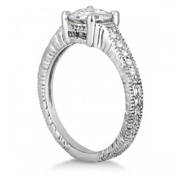 Antique Diamond Vintage Engagement Ring Setting 14k White Gold (0.20ct)