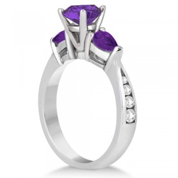 Diamond & Pear Cut Amethyst Engagement Ring 14k White Gold (1.79ct)