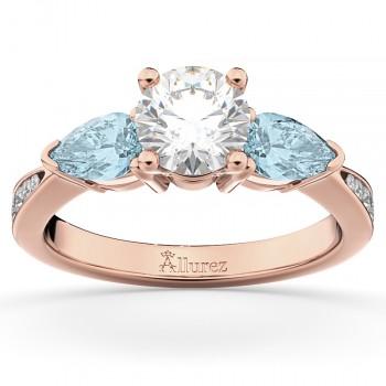 Diamond & Pear Aquamarine Engagement Ring 14k Rose Gold (0.79ct)