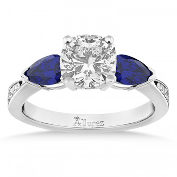 Cushion Diamond & Pear Blue Sapphire Engagement Ring 14k White Gold (1.29ct)