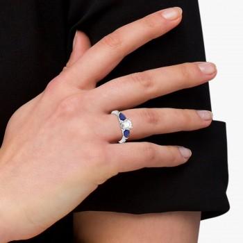 Diamond & Pear Blue Sapphire Engagement Ring 18k White Gold (0.79ct)