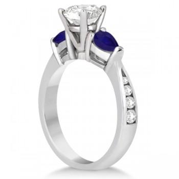 Diamond & Pear Blue Sapphire Engagement Ring Platinum (0.79ct)