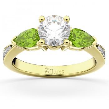 Diamond & Pear Peridot Engagement Ring 18k White Gold (0.79ct)