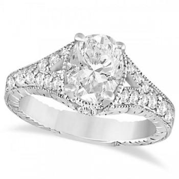 Antique Art Deco Oval Diamond Engagement Ring 14K White Gold (1.03ct)