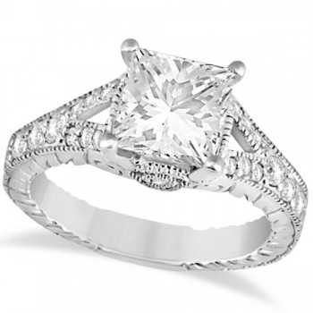 Antique Princess Cut Diamond Engagement Ring 14K White Gold (1.03ct)