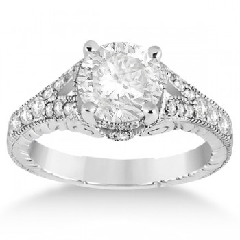 Antique Style Art Deco Diamond Engagement Ring 14K White Gold (0.33ct)