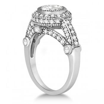 Vintage Diamond Halo Art Deco Engagement Ring 14k White Gold (0.97ct)