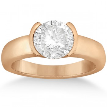 Half-Bezel Solitaire Engagement Ring Setting 18k Rose Gold