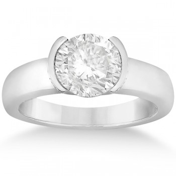 Half-Bezel Solitaire Engagement Ring Setting in 18k White Gold