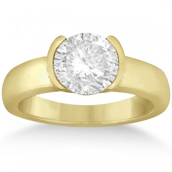 Half-Bezel Solitaire Engagement Ring Setting in 18k Yellow Gold