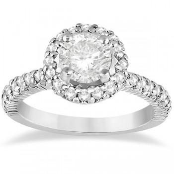 Round Diamond Halo Engagement Ring Setting 14k White Gold (0.75ct)