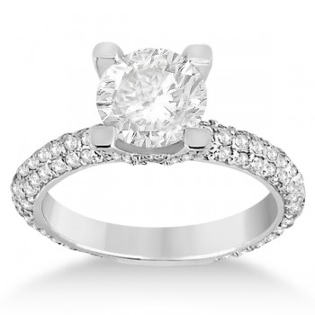Eternity Pave Set Trio Diamond Bridal Set 14k White Gold (1.63ct)