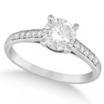 Cathedral Style Round Diamond Engagement Ring 14k White Gold (1.00ct)