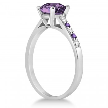 Cathedral Amethyst & Diamond Engagement Ring 14k White Gold (1.20ct)
