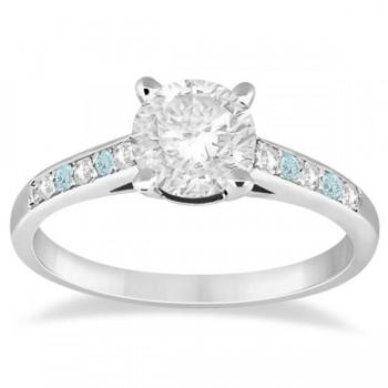 Cathedral Aquamarine & Diamond Engagement Ring Platinum (0.20ct)