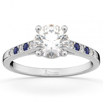 Cathedral Sapphire & Diamond Engagement Ring 14k White Gold (0.20ct)