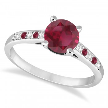 Cathedral Ruby & Diamond Engagement Ring 14k White Gold (1.20ct)