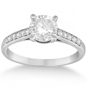 Cathedral Pave Lab Grown Diamond Engagement Ring Setting 18k White Gold (0.20ct)