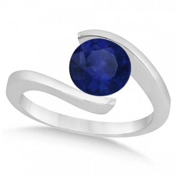 Tension Solitaire Blue Sapphire Engagement Ring 14k White Gold 1.00ct