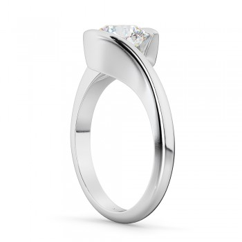 Tension Set Solitaire Diamond Engagement Ring 14k White Gold 0.50ct