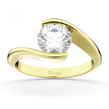 Tension Set Swirl Solitaire Engagement Ring Setting 14k Yellow Gold