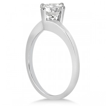 Curved Four-Prong Bypass Solitaire Engagement Ring 14k White Gold