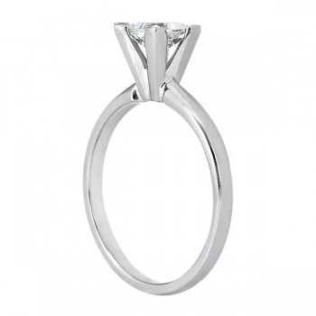 18k White Gold Solitaire Engagement Ring Princess Cut Diamond Setting
