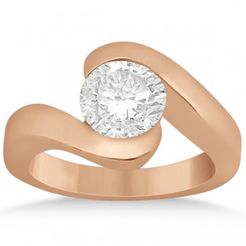 Twisted Bypass Solitaire Tension Set Engagement Ring 14k Rose Gold
