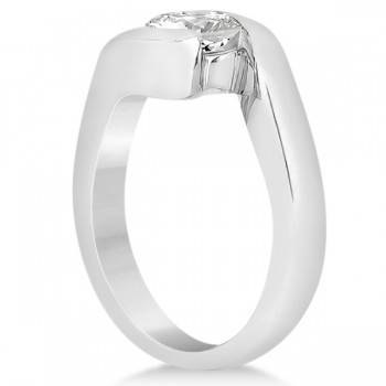 Twisted Bypass Solitaire Tension Set Engagement Ring 14k White Gold
