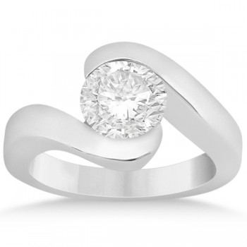 Twisted Bypass Solitaire Tension Set Engagement Ring 18k White Gold