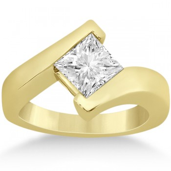 Princess Cut Tension Set Engagement Ring Setting 18k Yellow Gold