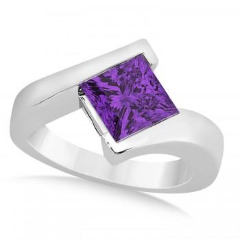 Solitaire Princess Amethyst Tension Set Engagement Ring Platinum (1.50ct)