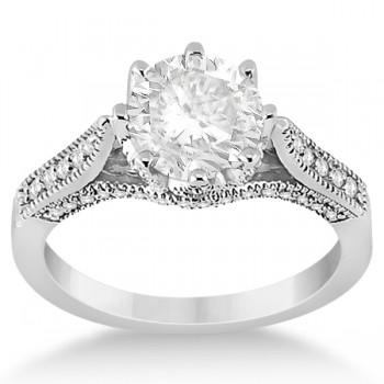 Edwardian Diamond Engagement Ring Setting 18k White Gold (0.35ct)