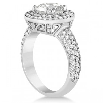 Pave Diamond Double Halo Engagement Ring 18k White Gold (1.09ct)
