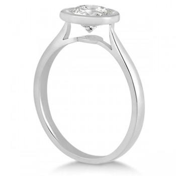 Floating Bezel Set Solitaire Engagement Ring Setting 14K White Gold