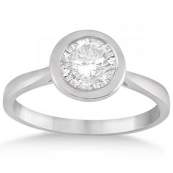 Floating Bezel Set Solitaire Diamond Engagement Ring Setting 18K White Gold