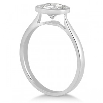 Floating Bezel Set Solitaire Diamond Engagement Ring Setting 18K White Gold