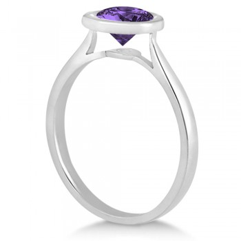 Floating Bezel Set Solitaire Amethyst Engagement Ring 14k White Gold (1.00ct)