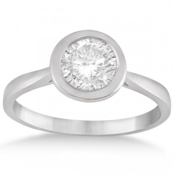 Floating Bezel Set Solitaire Engagement Ring Setting in Platinum