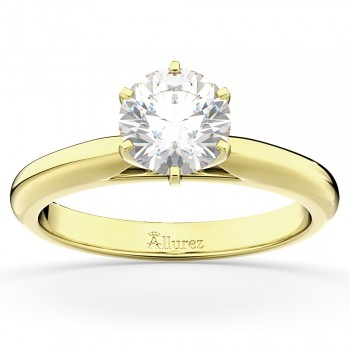 Six-Prong 14k Yellow Gold Solitaire Engagement Ring Setting