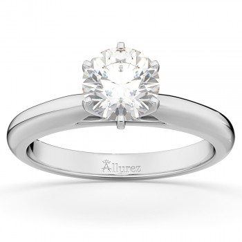 Six-Prong 18k White Gold Solitaire Engagement Ring Setting