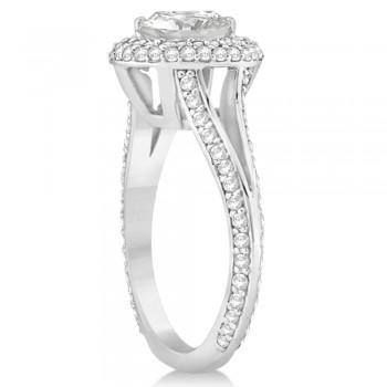 Double Halo Diamond Engagement Ring Setting 14k White Gold (1.00ct)