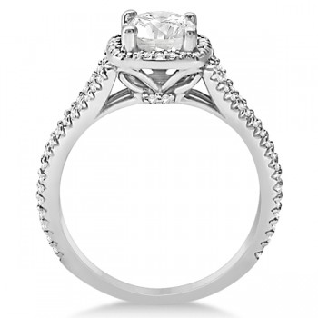 Square Halo Diamond Engagement Ring Split Shank 14K White Gold 1.25ctw
